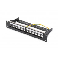 DIGITUS Patch panel 10'' 12-port  1U modular Keystone, tray, black DN-91420