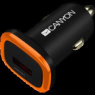CANYON CANYON Universal 1xUSB car adapter, Input 12V-24V, Output 5V-1A, black rubber coating with orange electroplated ring(without LED backlighting) CNE-CCA01B