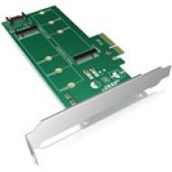 IcyBox PCIe-Card, 1x M.2 SATA SSD to SATA 3.0 + 1x M.2 PCIe SSD to PCIe x4 Host Full Profile IB-PCI209