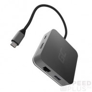 Green Cell HUB2 USB-C, 3x USB 3.0 RJ45 1Gbps HDMI 4K, DEX Nintendo Switch Apple AK61