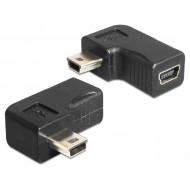 DeLock Adapter USB-B mini 5 pin male/female 90° forgatható
