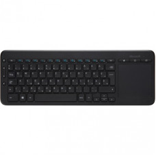 Microsoft All-in-One Media Wireless billentyuzet Black Multimédia,Cordless,Black,USB,HUN,Touchpad