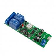 SmartWise 5V-32V két áramkörös WiFi-s, Sonoff kompatibilis, távvezérelhető okos kapcsoló relé, kontakt kapcsolással és impulzus kapcsolási üzemmóddal SMW-REL-532V-2