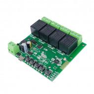 SmartWise 5V-32V négy áramkörös WiFi-s, Sonoff kompatibilis, távvezérelhető okos kapcsoló relé, kontakt kapcsolással és impulzus kapcsolási üzemmóddal SMW-REL-532V-4
