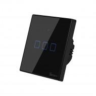 Sonoff TX T3 EU 3C WiFi + RF vezérlésű, távvezérelhető, érintős hármas csillár villanykapcsoló (fekete) SON-KAP-TXT33